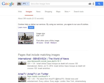 Google reverse image search with results